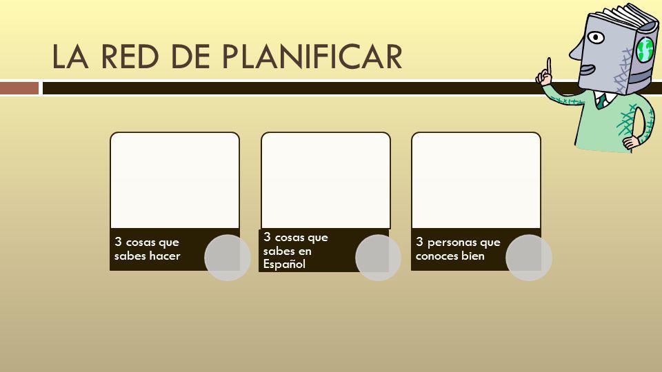 LA RED DE PLANIFICAR 3 cosas que sabes hacer 3 cosas que sabes en Español 3 personas que conoces bien
