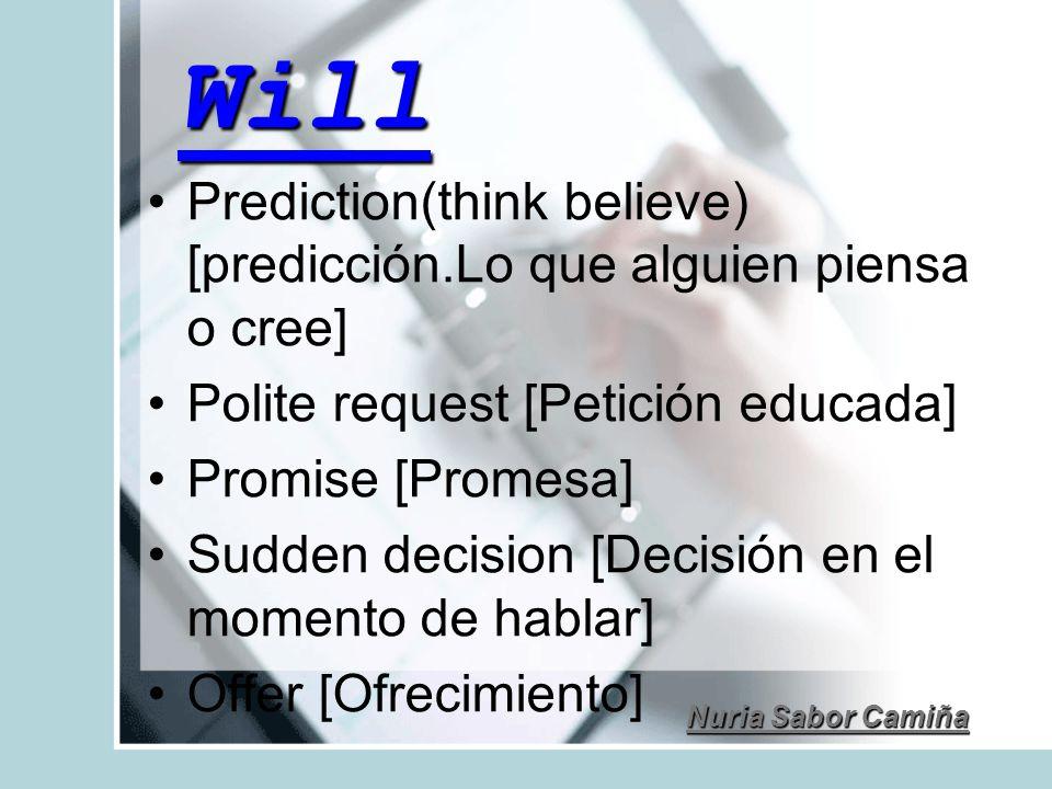 Will Prediction(think believe) [predicción.Lo que alguien piensa o cree] Polite request [Petición educada] Promise [Promesa] Sudden decision [Decisión