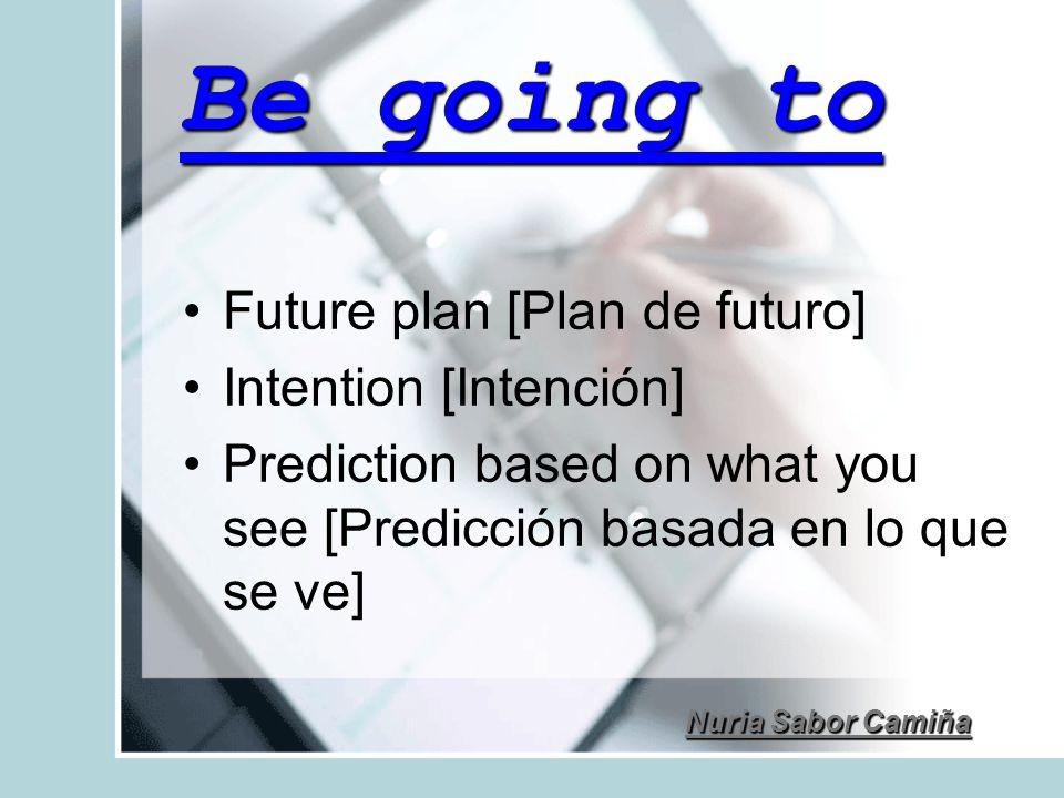 Be going to Future plan [Plan de futuro] Intention [Intención] Prediction based on what you see [Predicción basada en lo que se ve]