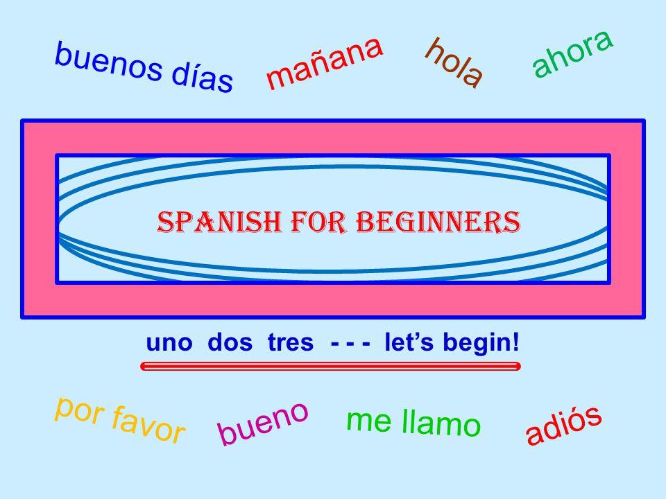 buenos días me llamo hola por favor bueno adiós mañana Spanish for beginners uno dos tres - - - lets begin.
