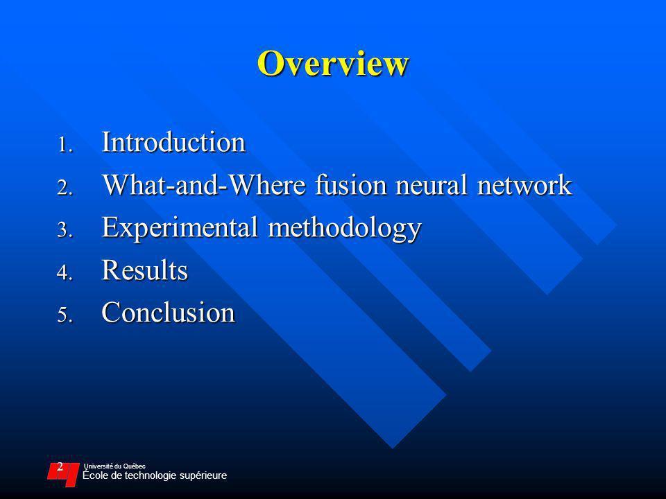 Université du Québec École de technologie supérieure 2 Overview 1. Introduction 2. What-and-Where fusion neural network 3. Experimental methodology 4.