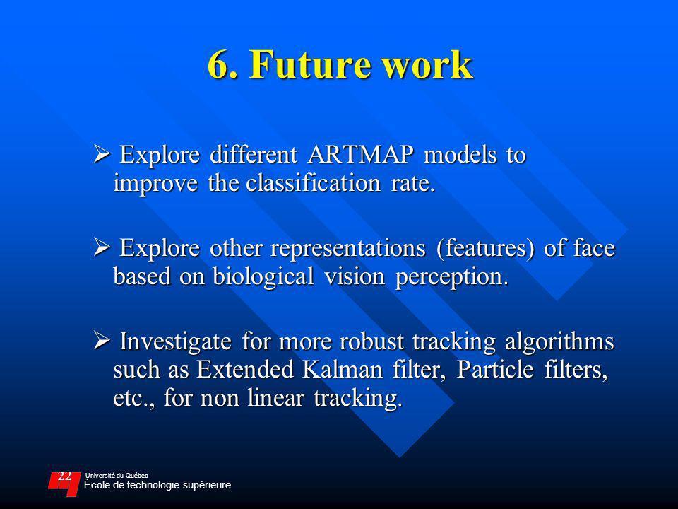 Université du Québec École de technologie supérieure 22 6. Future work Explore different ARTMAP models to improve the classification rate. Explore dif