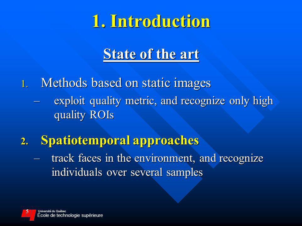 Université du Québec École de technologie supérieure 5 1. Introduction State of the art 1. Methods based on static images –exploit quality metric, and