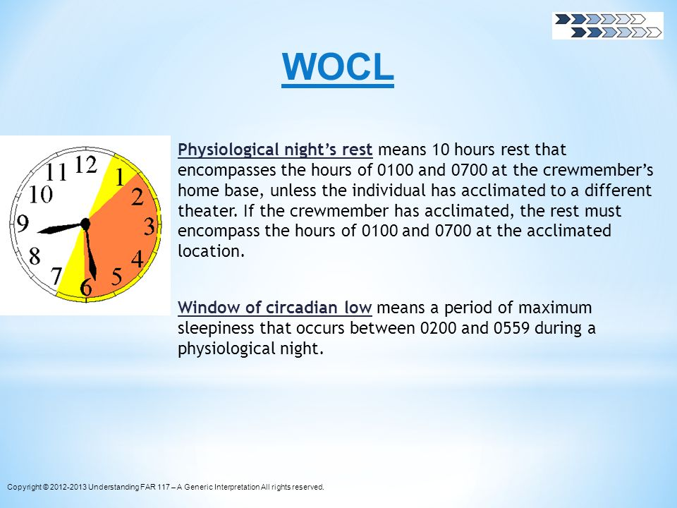 WOCL Physiological nights rest means 10 hours rest that encompasses the hours of 0100 and 0700 at the crewmembers home base, unless the individual has