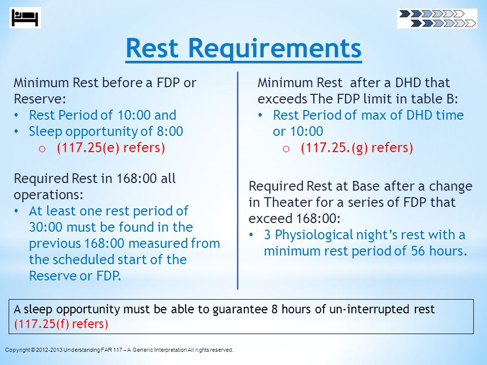 Rest Requirements Minimum Rest before a FDP or Reserve: Rest Period of 10:00 and Sleep opportunity of 8:00 o (117.25(e) refers) Required Rest in 168:0