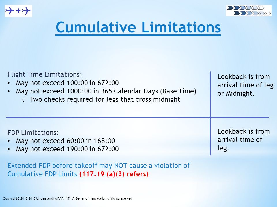 Cumulative Limitations Flight Time Limitations: May not exceed 100:00 in 672:00 May not exceed 1000:00 in 365 Calendar Days (Base Time) o Two checks r