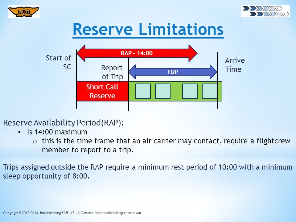 Reserve Limitations Reserve Availability Period(RAP): Is 14:00 maximum o this is the time frame that an air carrier may contact, require a flightcrew