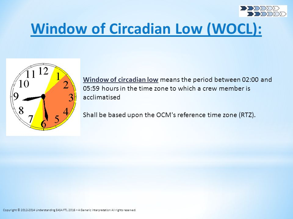 Window of Circadian Low (WOCL): Window of circadian low means the period between 02:00 and 05:59 hours in the time zone to which a crew member is accl