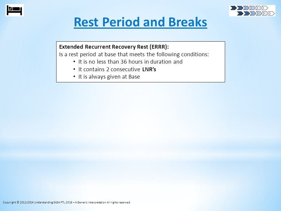 Rest Period and Breaks Copyright © 2012-2014 Understanding EASA FTL 2016 – A Generic Interpretation All rights reserved. Extended Recurrent Recovery R