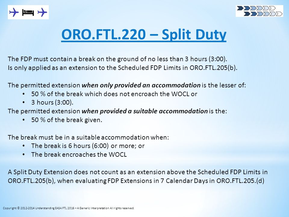 ORO.FTL.220 – Split Duty The FDP must contain a break on the ground of no less than 3 hours (3:00). Is only applied as an extension to the Scheduled F