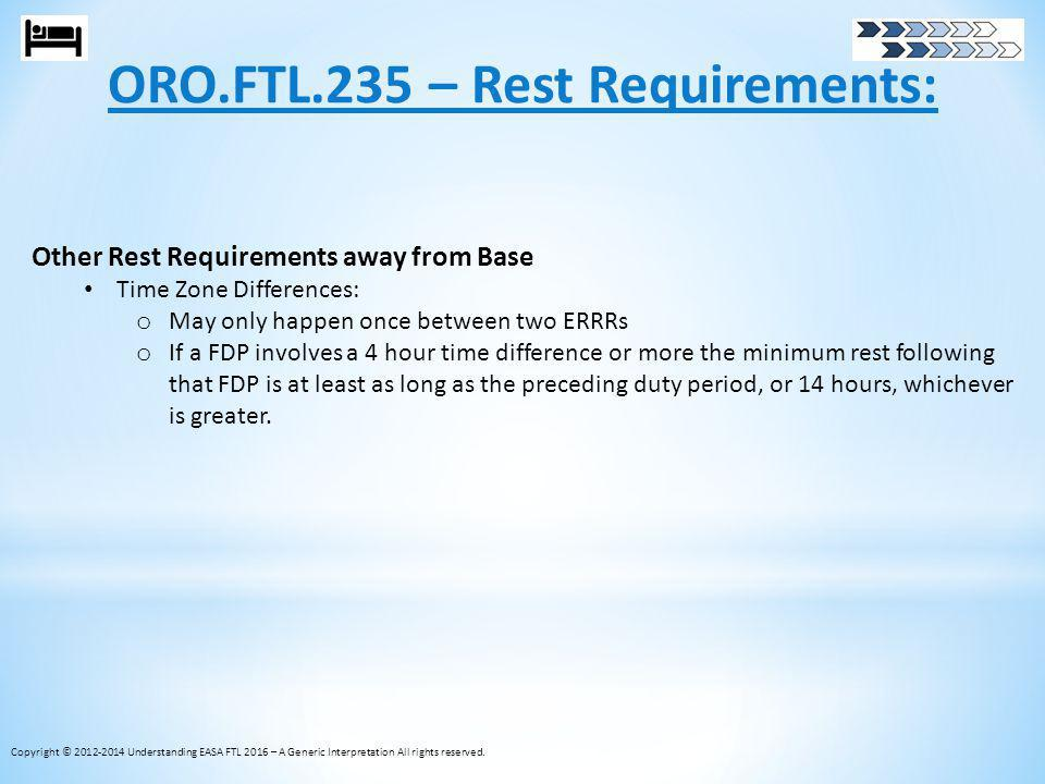 ORO.FTL.235 – Rest Requirements: Copyright © 2012-2014 Understanding EASA FTL 2016 – A Generic Interpretation All rights reserved. Other Rest Requirem