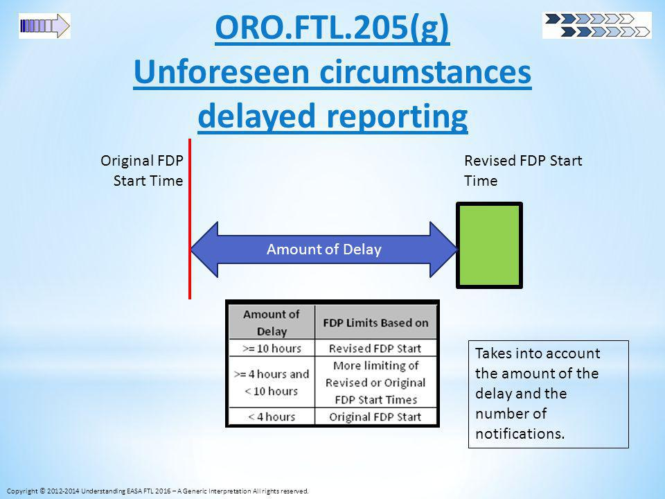 ORO.FTL.205(g) Unforeseen circumstances delayed reporting Copyright © 2012-2014 Understanding EASA FTL 2016 – A Generic Interpretation All rights rese