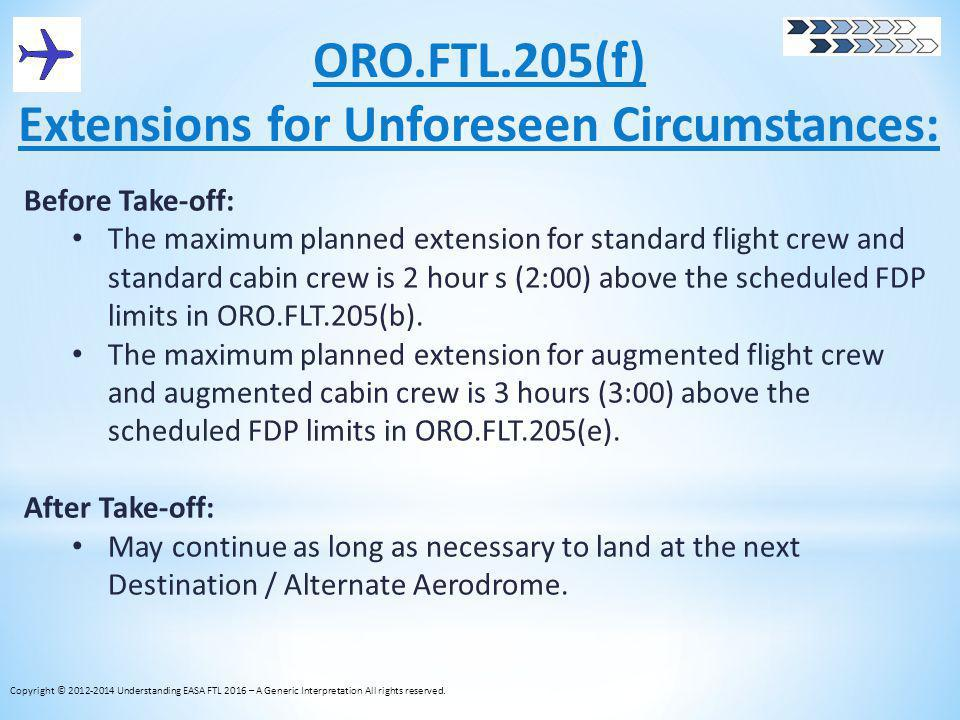 ORO.FTL.205(f) Extensions for Unforeseen Circumstances: Before Take-off: The maximum planned extension for standard flight crew and standard cabin cre