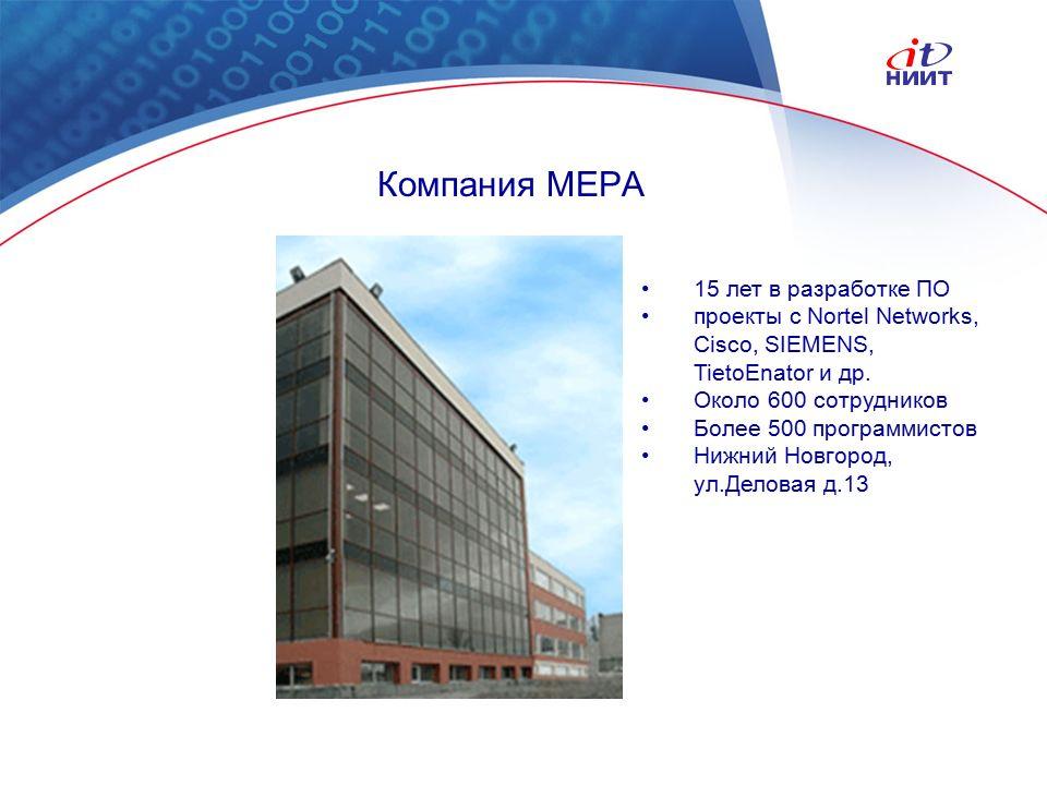 Nortel Networks Confidential Компания МЕРА 15 лет в разработке ПО проекты с Nortel Networks, Cisco, SIEMENS, TietoEnator и др.