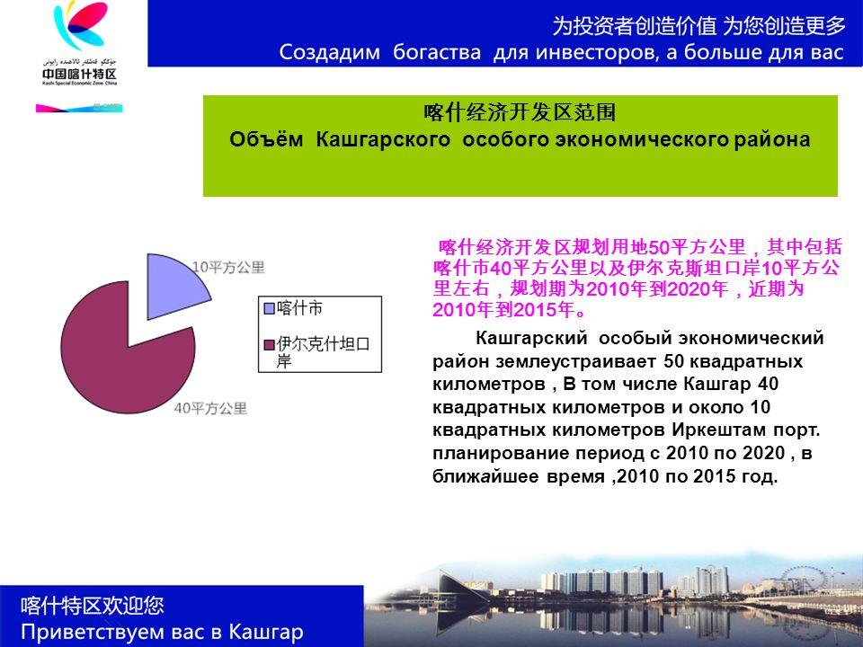 喀什经济开发区范围 Объём Кашгарского особого экономического района 喀什经济开发区规划用地 50 平方公里,其中包括 喀什市 40 平方公里以及伊尔克斯坦口岸 10 平方公 里左右,规划期为 2010 年到 2020 年,近期为 2010 年到 2015 年。 Кашгарский особый экономический район землеустраивает 50 квадратных километров, В том числе Кашгар 40 квадратных километров и около 10 квадратных километров Иркештам порт.
