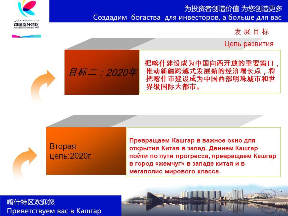 目标二: 2020 年 把喀什建设成为中国向西开放的重要窗口, 推动新疆跨越式发展新的经济增长点,将 把喀什市建设成为中国西部明珠城市和世 界级国际大都市。 发 展 目 标发 展 目 标 Цель развития Превращаем Кашгар в важное окно для открытия Китая в запад.