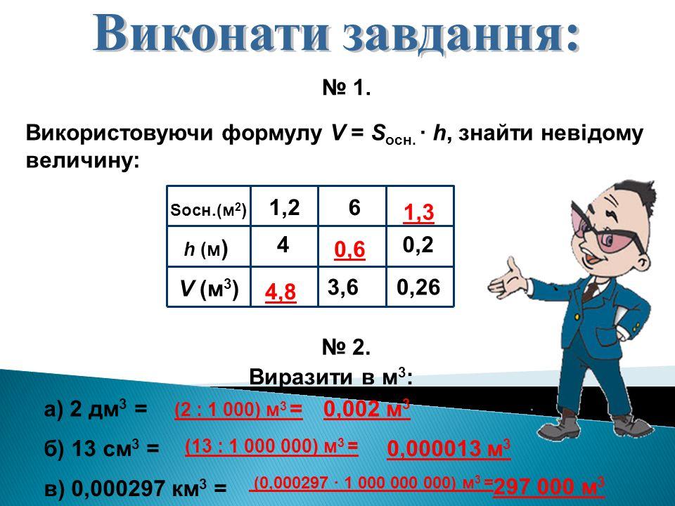 Використовуючи формулу V = S осн. · h, знайти невідому величину: № 1. Sосн.(м 2 ) h (м ) V (м 3 ) 4 1,2 3,6 6 0,26 0,2 4,8 0,6 1,31,3 № 2. Виразити в