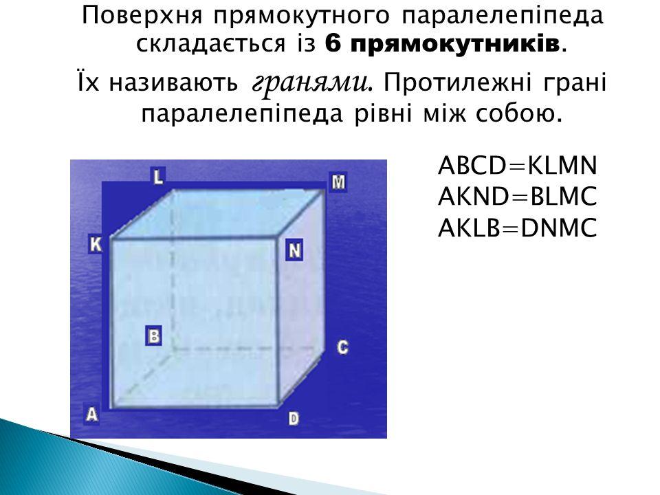 ABCD=KLMN AKND=BLMC AKLB=DNMC Поверхня прямокутного паралелепіпеда складається із 6 прямокутників. Їх називають гранями. Протилежні грані паралелепіпе