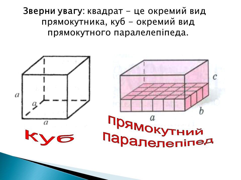 Зверни увагу: квадрат - це окремий вид прямокутника, куб - окремий вид прямокутного паралелепіпеда.