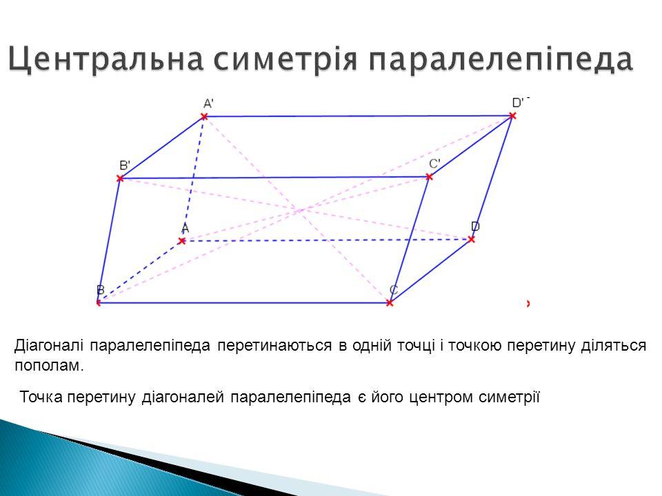 Діагоналі паралелепіпеда перетинаються в одній точці і точкою перетину діляться пополам. Точка перетину діагоналей паралелепіпеда є його центром симет