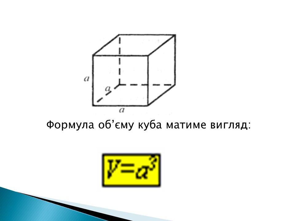 Формула об'єму куба матиме вигляд: