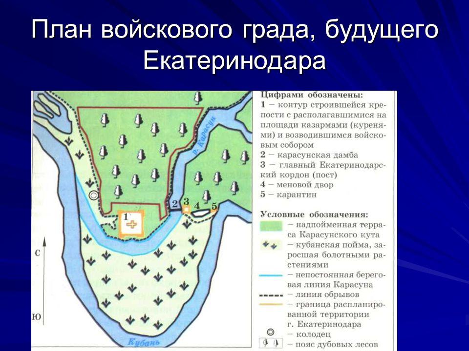 План войскового града, будущего Екатеринодара