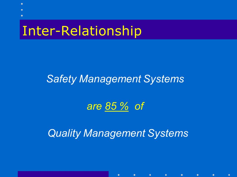 Inter-Relationship Safety Management Systems are 85 % of Quality Management Systems