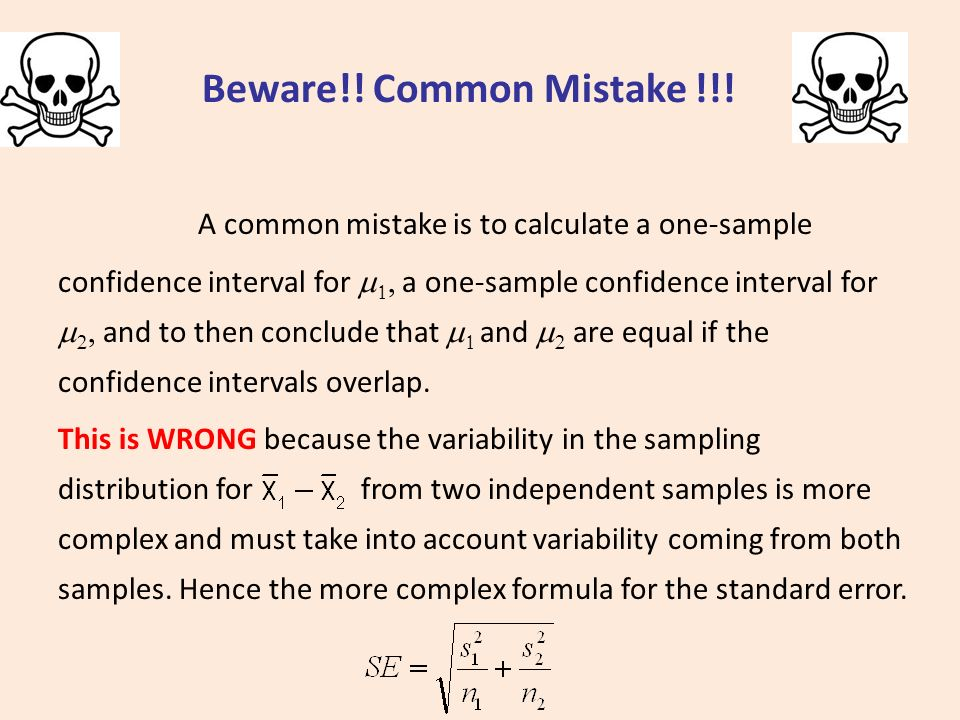 Comparing Means: Confidence Intervals and Hypotheses Tests for the ...