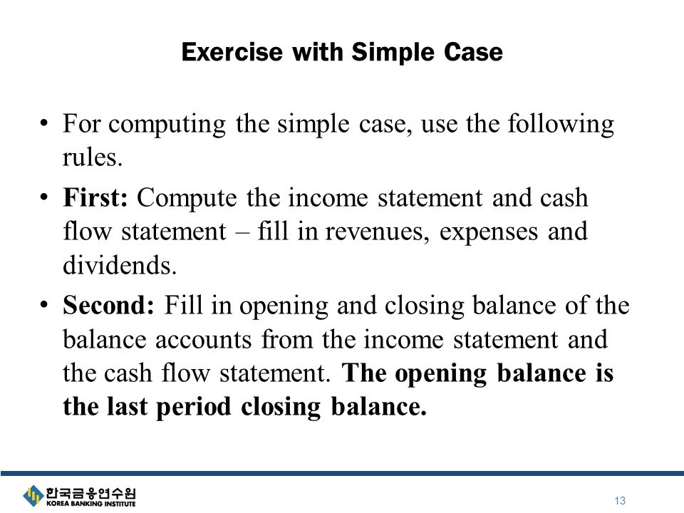 Exercise With Simple Case For Computing The Simple Case, Use The Following  Rules.  Income Statement Simple