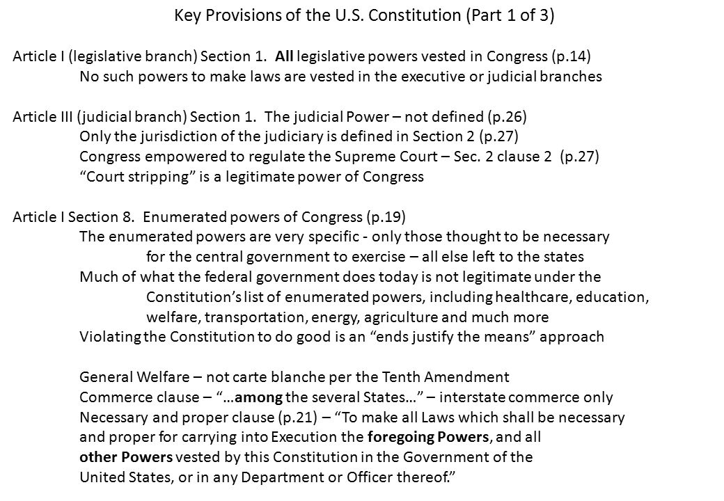 Key Provisions of the U.S. Constitution (Part 1 of 3) Article I (legislative branch) Section 1.