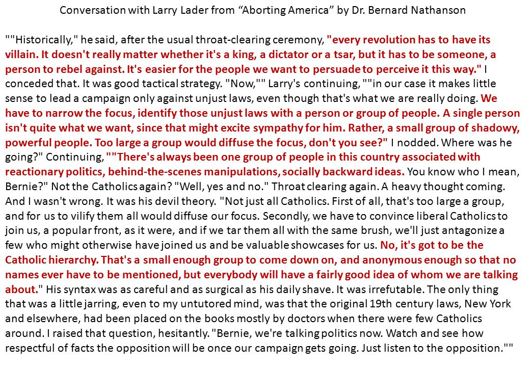 Conversation with Larry Lader from Aborting America by Dr.