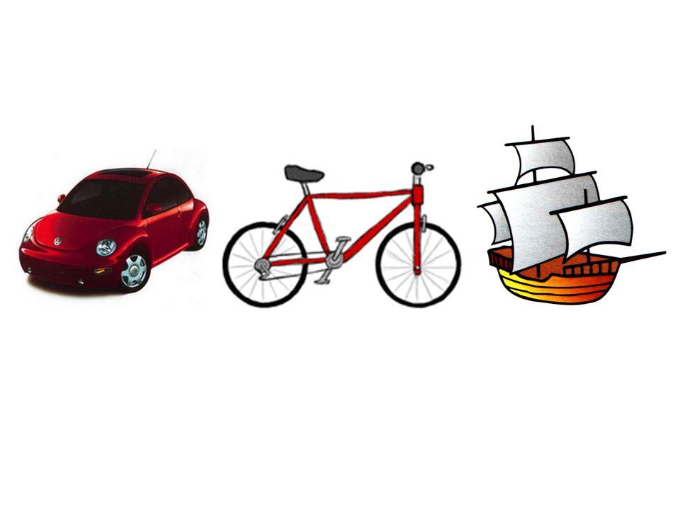 das Auto das Fahrrad das Schiff