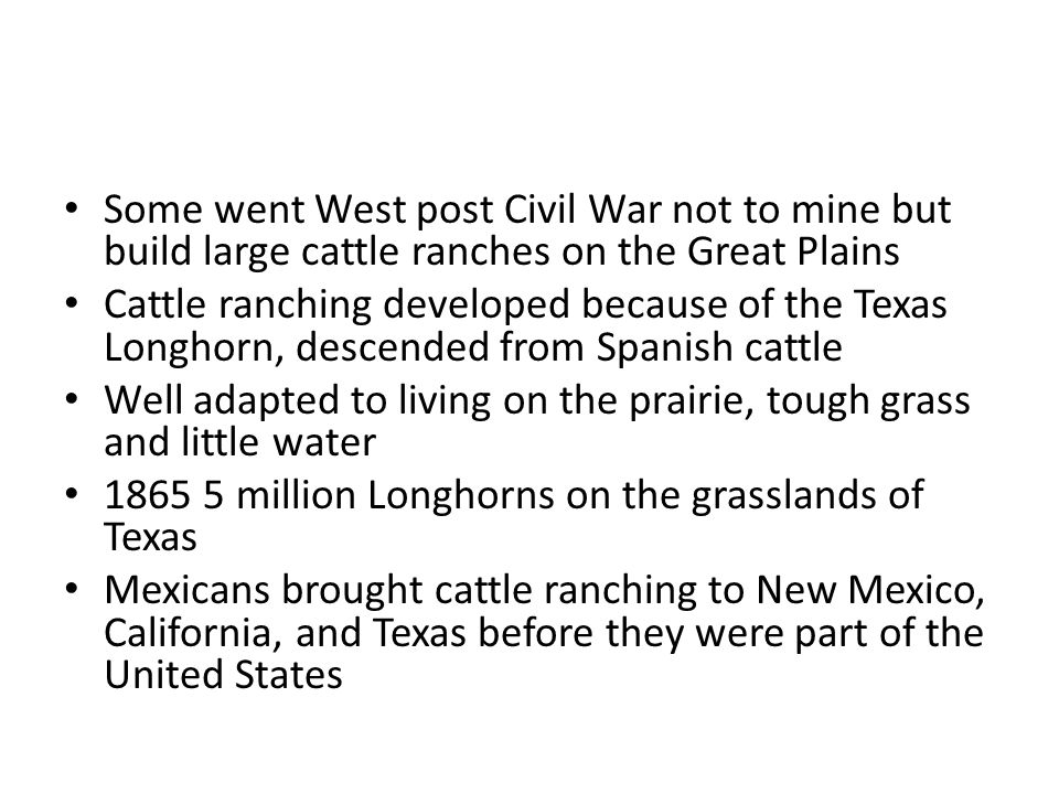 Some went West post Civil War not to mine but build large cattle ranches on the Great Plains Cattle ranching developed because of the Texas Longhorn, descended from Spanish cattle Well adapted to living on the prairie, tough grass and little water 1865 5 million Longhorns on the grasslands of Texas Mexicans brought cattle ranching to New Mexico, California, and Texas before they were part of the United States