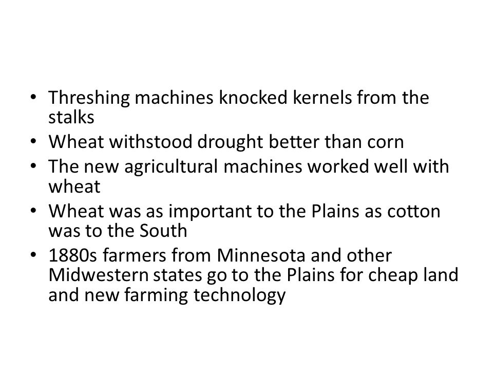 Threshing machines knocked kernels from the stalks Wheat withstood drought better than corn The new agricultural machines worked well with wheat Wheat was as important to the Plains as cotton was to the South 1880s farmers from Minnesota and other Midwestern states go to the Plains for cheap land and new farming technology