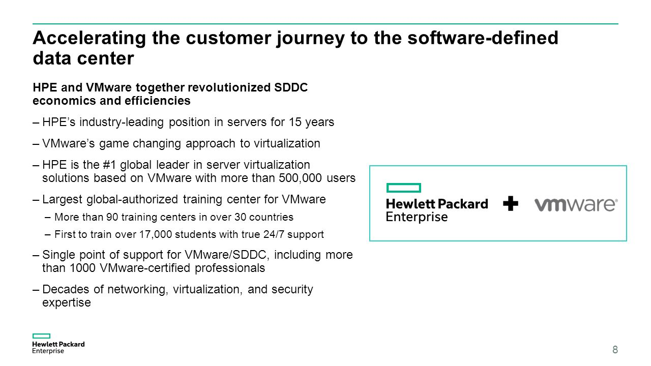 The next big shift in your data center vmware nsx with hpe ppt 8 accelerating the customer journey to the software defined data center hpe and vmware together revolutionized sddc economics and efficiencies hpes xflitez Images
