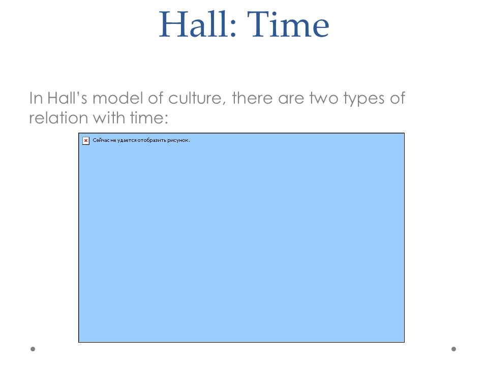 Hall: Time In Hall's model of culture, there are two types of relation with time: