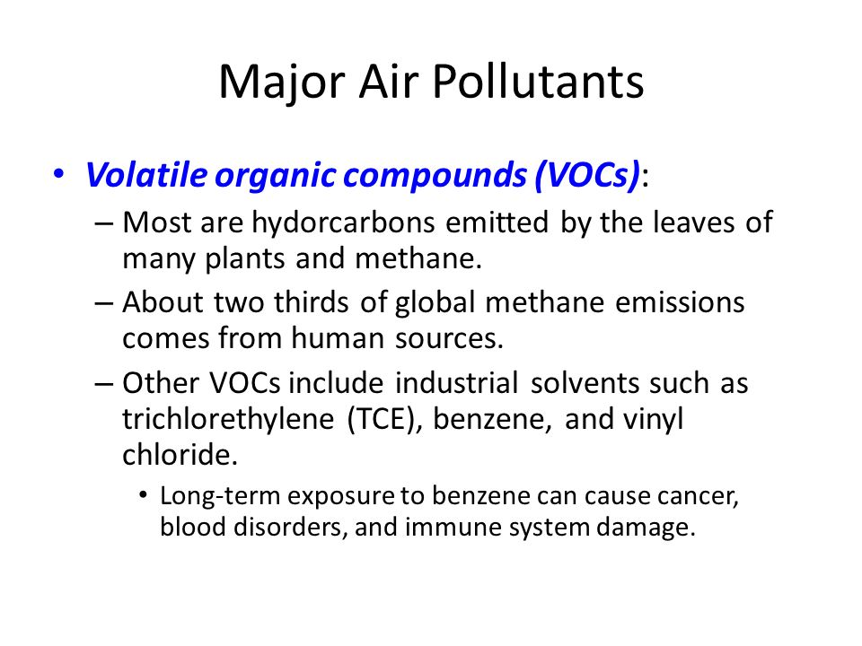 Major Air Pollutants Volatile organic compounds (VOCs): – Most are hydorcarbons emitted by the leaves of many plants and methane.