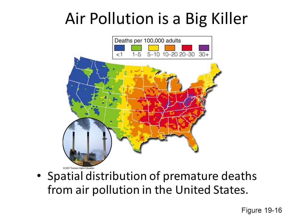 Air Pollution is a Big Killer Spatial distribution of premature deaths from air pollution in the United States.