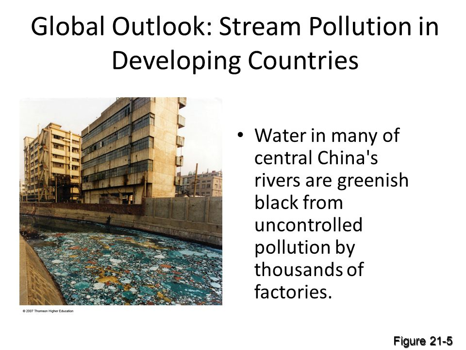Global Outlook: Stream Pollution in Developing Countries Water in many of central China s rivers are greenish black from uncontrolled pollution by thousands of factories.
