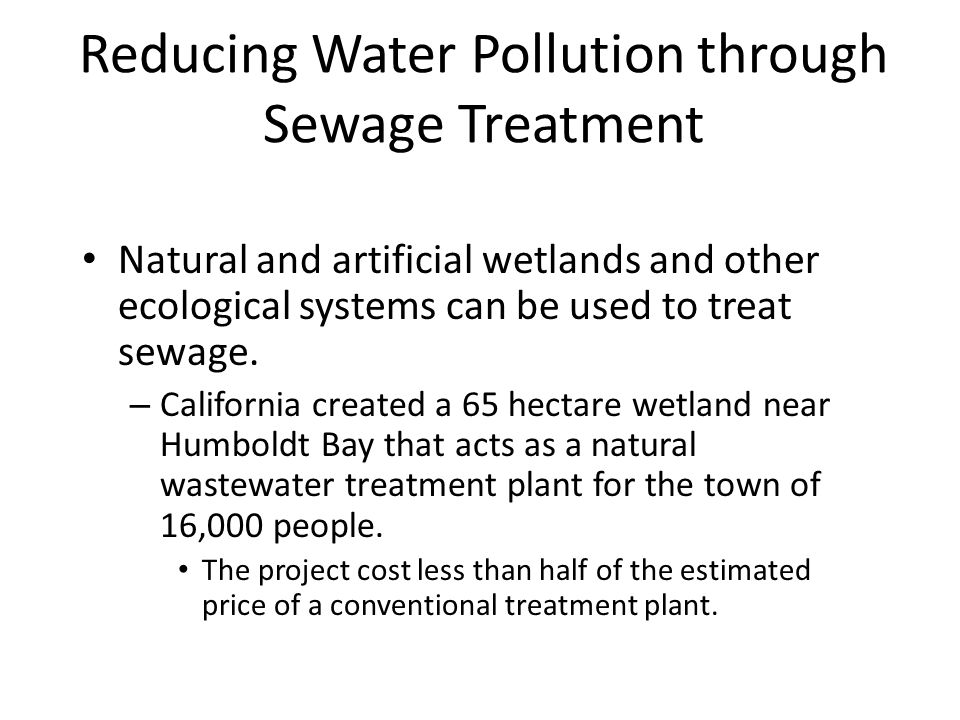 Reducing Water Pollution through Sewage Treatment Natural and artificial wetlands and other ecological systems can be used to treat sewage.