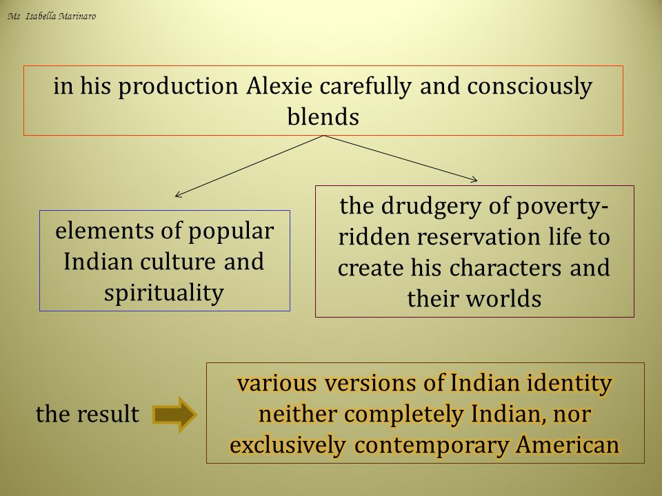 in his production Alexie carefully and consciously blends elements of popular Indian culture and spirituality the drudgery of poverty- ridden reservation life to create his characters and their worlds the result Ms Isabella Marinaro