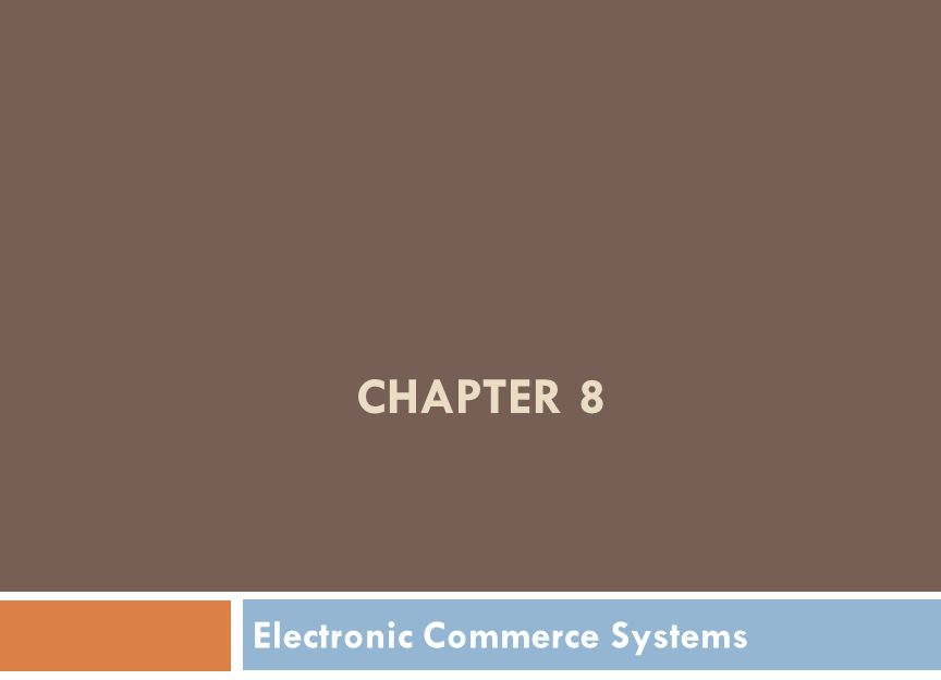 CHAPTER 8 Electronic Commerce Systems