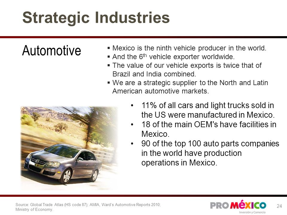 Strategic Industries Automotive  Mexico is the ninth vehicle producer in the world.