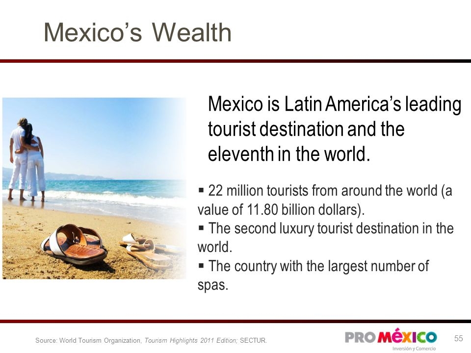 Mexico's Wealth Mexico is Latin America's leading tourist destination and the eleventh in the world.