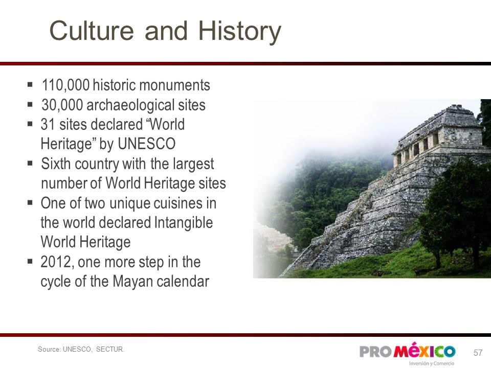 Culture and History  110,000 historic monuments  30,000 archaeological sites  31 sites declared World Heritage by UNESCO  Sixth country with the largest number of World Heritage sites  One of two unique cuisines in the world declared Intangible World Heritage  2012, one more step in the cycle of the Mayan calendar Source: UNESCO, SECTUR.
