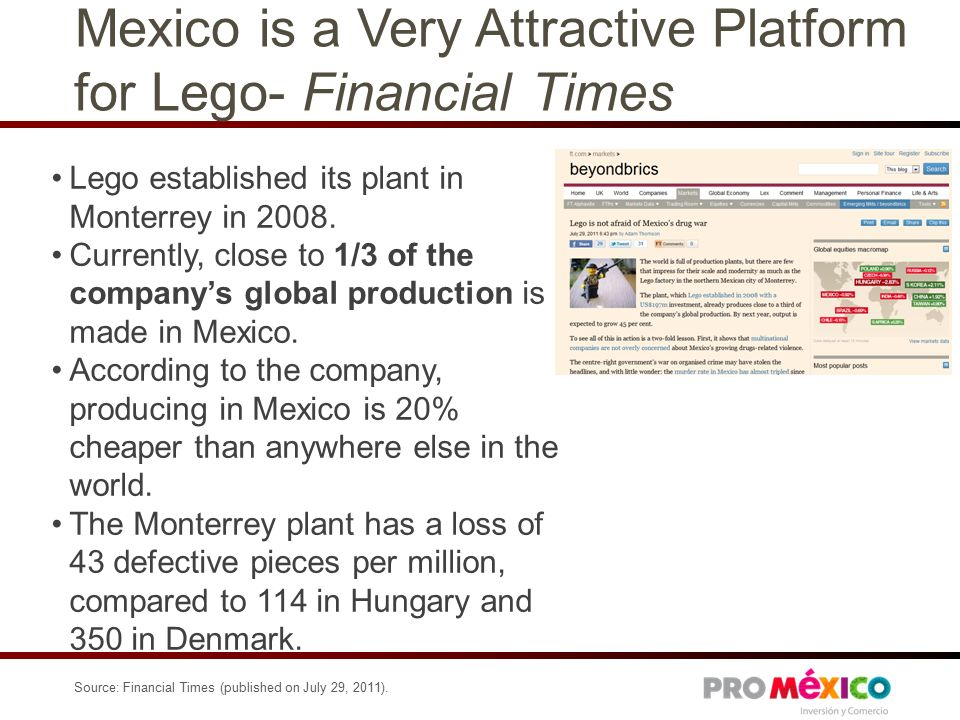 Mexico is a Very Attractive Platform for Lego- Financial Times Lego established its plant in Monterrey in 2008.
