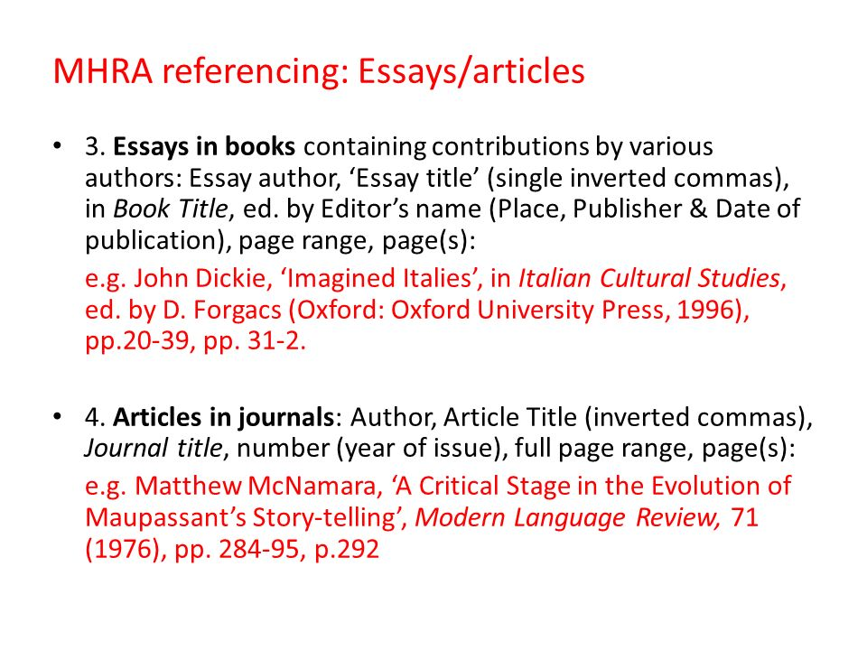 book references in an essay When giving a reference underline or italicise titles of books and journals so, to give an example of a book reference in a footnoor endnote :royden j dangerfield, in defense of the senate: a study in treaty-making (norman: oklahoma university press 1933) p36.