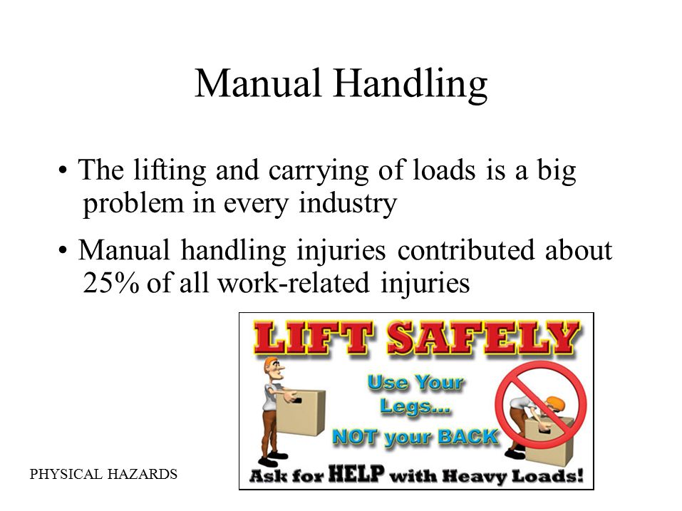 Manual Handling The lifting and carrying of loads is a big problem in every industry Manual handling injuries contributed about 25% of all work-related injuries PHYSICAL HAZARDS