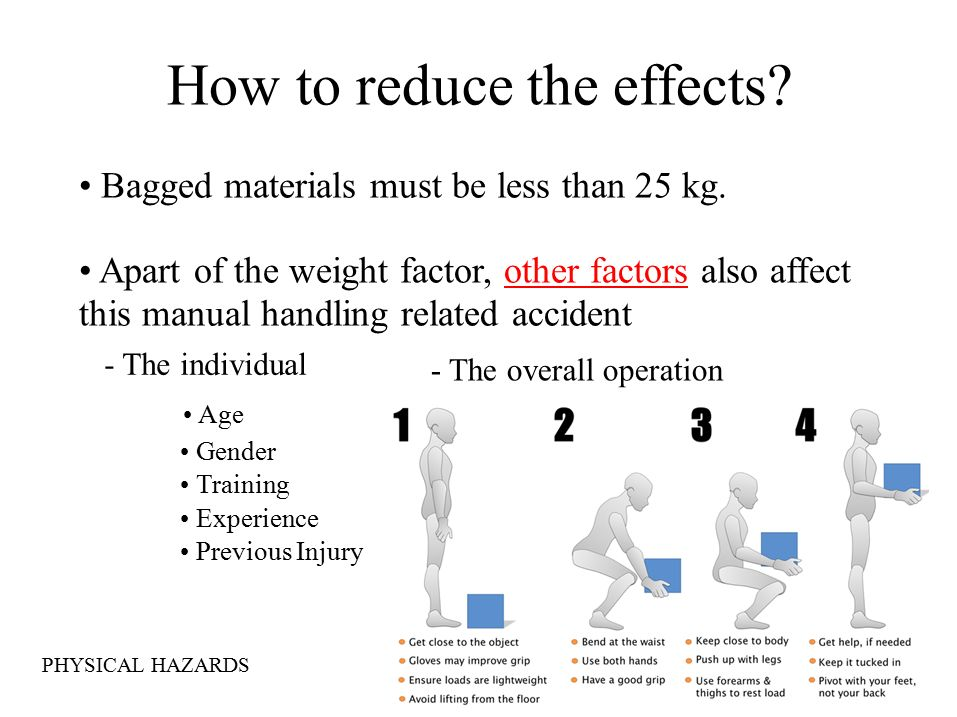 How to reduce the effects. Bagged materials must be less than 25 kg.