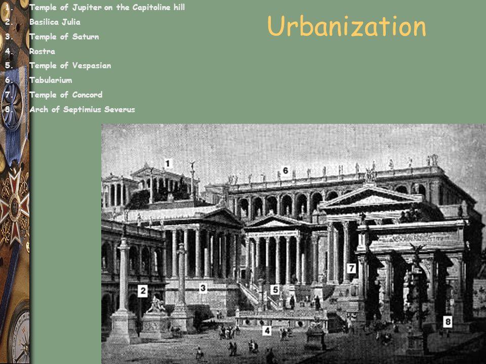 Urbanization 1.Temple of Jupiter on the Capitoline hill 2.Basilica Julia 3.Temple of Saturn 4.Rostra 5.Temple of Vespasian 6.Tabularium 7.Temple of Concord 8.Arch of Septimius Severus